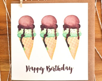 Watercolour Ice-cream Happy Birthday Greeting Card