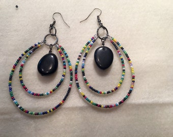 Seed bead and jet earrings southwest style