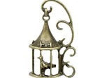 Bird in Cage Charm. Steampunk BIrdcage Charm. Tibetan Antique Bronze Tone x 5