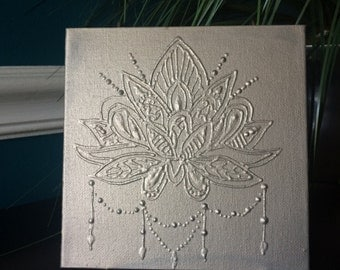 Lotus mandala painting- silver- unique artwork
