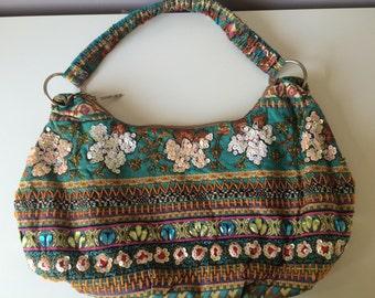 Blue floral handbag unique handmade