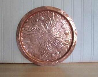 Vintage Copper Hammered Decorative Plate