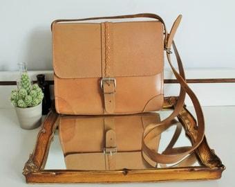 Vintage Tan Beige Leather Plaited Buckle Front Cross Body Messenger Satchel Bag Purse