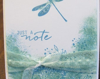 Dragonfly Homemade, Handstamped, Just a Note, Greeting Card