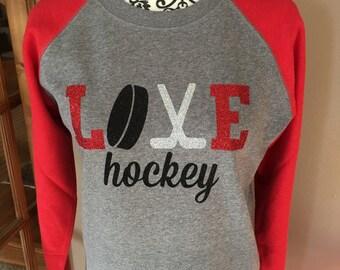 Women's, Hockey Mom Love Hockey, Glitter Light Fleece -- Skater and Goalie Designs -- a MUST for Hockey Moms & Grandmas