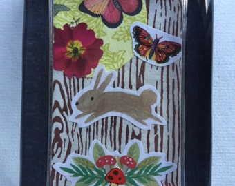 Bunny & Flowers Collage Paperweight