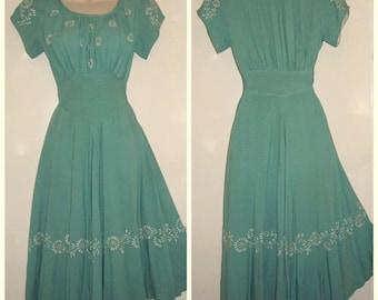 1950's XS green Linen dress-vintage-rockabilly -pinup-