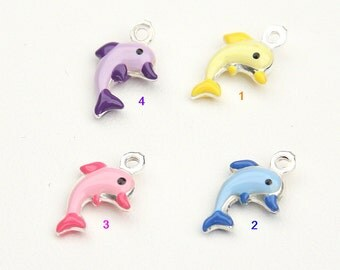 Dolphin Charm, Glazed Charm, Sterling Silver 925, Italian Handmade Fashion, Funny Charm, Colored Charms, Lucky Charm,Jewelry Supplies 9981