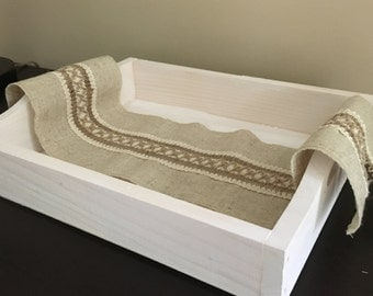 Decorative Antiqued White Tray
