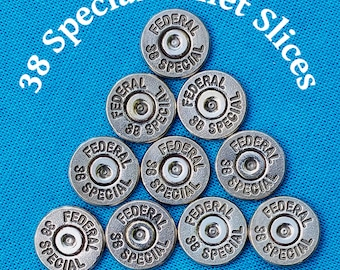 38 Spl. Bullet Slices For DIY Bullet Jewelry - Machine Cut And Hand Polished Bullet Slices. (Lot of 10)