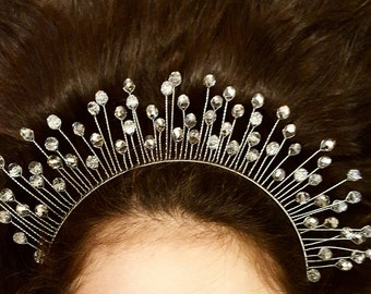 Sliver glass crystal tiara