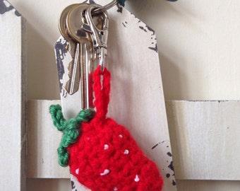 Crochet Strawberry keyring, zipper charm