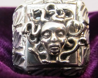 Versace Style Medussa Sterling Silver custom made Vintage Men's Ring