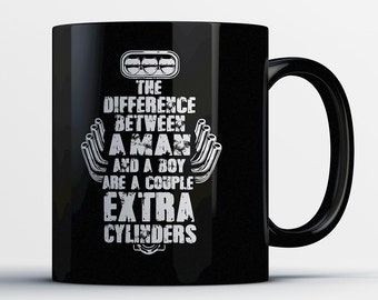 Gifts for Car Guys - Muscle Car Lover Mugs - Car Enthusiast Gifts - Petrolhead Coffee Cup - Gearhead Gifts - V8 Engine Cylinders