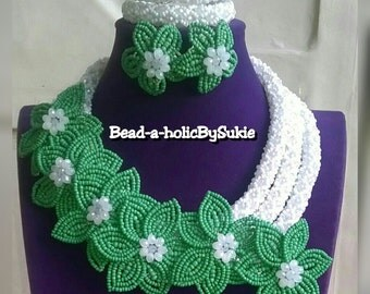3 Tier Russian Spiral Jewelry set embellished with floral details