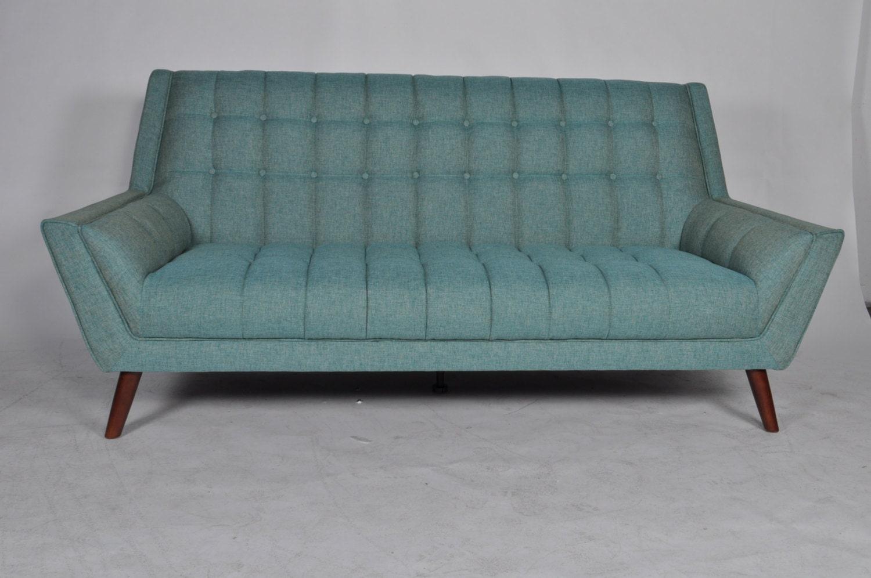 Mid Century Modern High Back Sofa With Walnut Wood By Midmodsofa