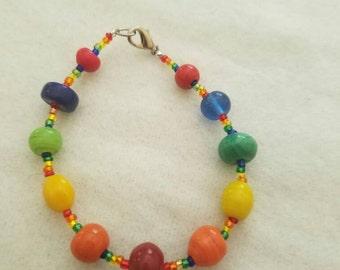 "7"" rainbow beaded bracelet"