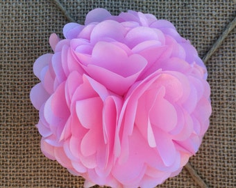 Light Pink Hair Bow Poof Silk