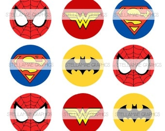 Superheroes - 1 inch circle images, bottlecap, cupcake topper - INSTANT DOWNLOAD