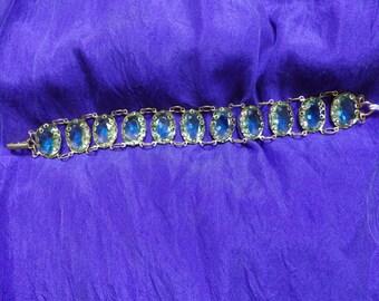 Molten Blue Glass Stone Bracelet