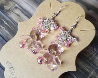 Kawaii Pink Bear Crystal Earrings
