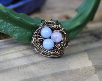 2 blue, 1 pink egg bird nest charm
