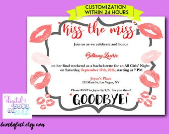 Kiss the Miss Goodbye Invitation, Bridal Shower Invitation, Bachelorette Party Invitation Printable, Bachelorette Party Invitation,