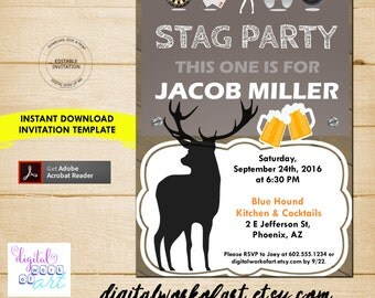 Stag Party Invitation Template, DIY Bachelor Party Invitation Printable Template, Stag Party Invitation, Instant Digital Download PDF