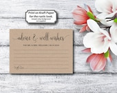 Advice & Well Wishes, Rustic, Kraft Letter, DIY Wedding Advice, Advice Card, Template, DIY Editable PDF, Printable Instant Download E77D