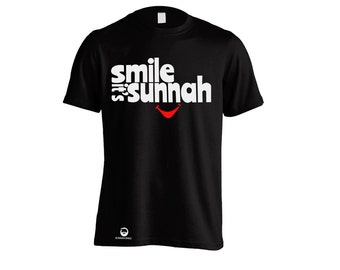 Smile it's Sunnah Adult Muslim T Shirt for Men or Women in Black or White - All sizes