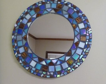 "12"" Mirror Mosaic, Round, iridescent blue and brown tile, hand cut"