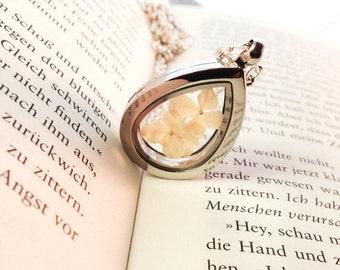 Annabelle hydrangea medallion glass dropper silver