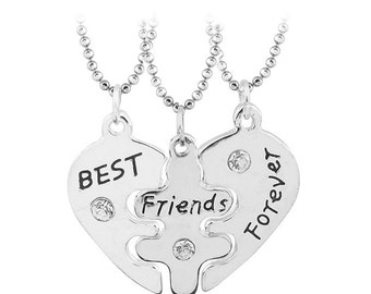 3 Best Friends Forever Three Part Friendship BFF Necklace Plus Gift Bag