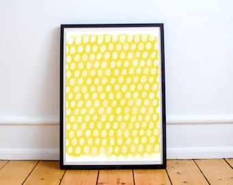 Yellow Printable Art, Printable Wall Art, Watercolor Painting, Nursery Printable, Printable Office Art, Yellow Abstract Art, Abstract Dots