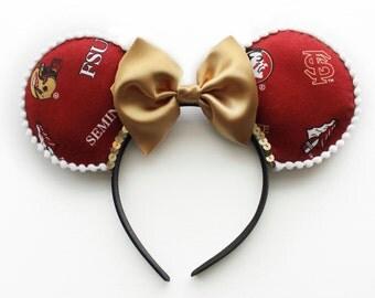 Florida State University Ears , FSU Ears , Disney Ears, Mickey Ears, Minnie Ears, Custom Mouse Ears Headband, College Ears , FSU Mickey Ears