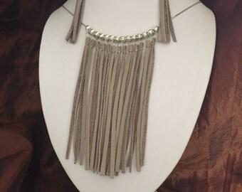 Boho Style Leather Fringe Necklace and Earrings