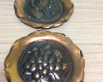 Pair of copper harvest themed wall plates