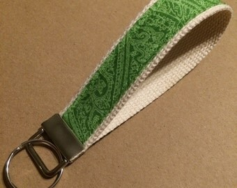 Lime green monochromatic paisley key fob or zipper pull