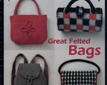 Knitting Crochet Pattern Great Felted Bags - Purse - Duffle & Tote Bags - Sac - Houndstooth Plaid Patchwork - 12 Designs