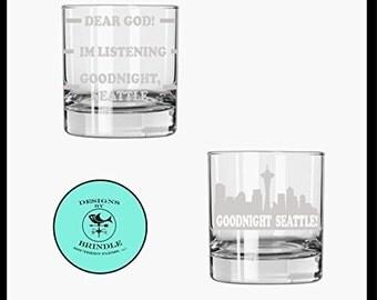 Frasier rocks glass set of 2 - Frasier goodnight Seattle, frasier whiskey glass