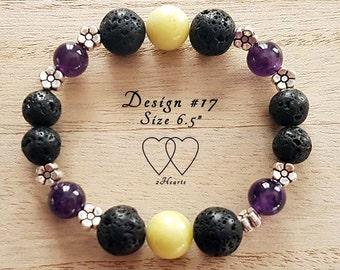 Design #17, Amethyst and Lemon Jasper Lava Bracelet, Diffuser Bracelet, Gemstone Bracelet