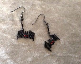 Peyote bat earrings