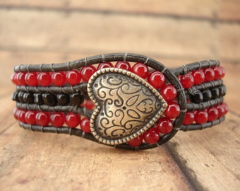 Heart's Desire Leather Wrap Bracelet