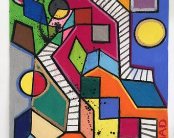 SixSeven - Abstract Cubism Painting - Original Pastel Artwork