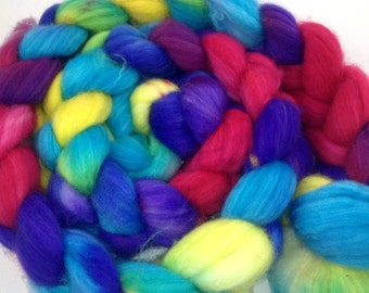 Merino/nylon approx. 150 g K140901 combed tops spinning color pink...