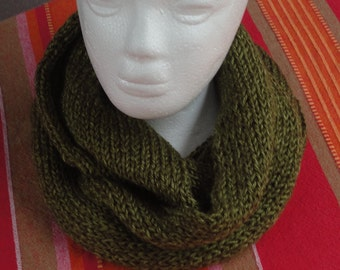 Double Thickness Knitted Green Infinity Scarf - Soft and Thick, and Comfortable  Womens one size