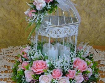 Floral arrangement,wedding decor,vintage,birdcage,table arrangement,pink flowers,decorative cage,floral decor,pink wedding,Cold Porcelain