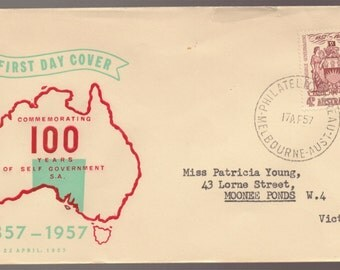 1957 Australia 100 Years of Self Government WCS FDC First Day Cover  - Australian Stamps