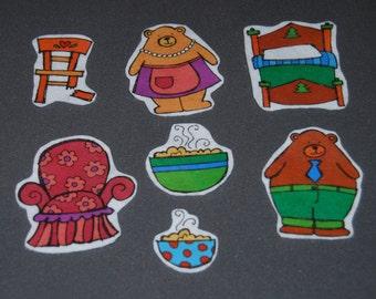 Goldilocks and the Three Bears Felt Story - Flannel Story -  Preschool Felt Story - Toddler Felt Story - Quiet Book Felt Story