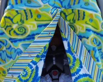 Baby Car Seat Canopy/Cover...Fleece and Flannel...Adorable Chameleon and Tie Dye--   BSSCC0029
